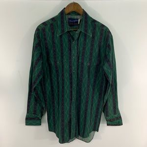 Vintage Wrangler Aztec Pearl Snap Button Down